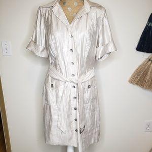 Chicos Cream-Gold Shimmer Button Front Belt Dress